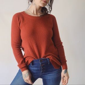 MADEWELL Waffle Knit Pullover Brick are